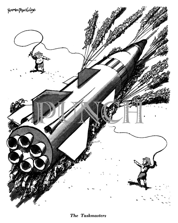 The Taskmasters (cartoon showing Kennedy and Khrushchev whipping their own slaves to push and pull a massive rocket to its destination during the 1960s Cold War)