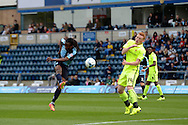 Marcus Bean of Wycombe Wanderers volleys the ball at goal from outside the box. Skybet football league two match, Wycombe Wanderers v Hartlepool Utd at Adams Park in High Wycombe, Bucks on Saturday 5th Sept 2015.<br /> pic by John Patrick Fletcher, Andrew Orchard sports photography.