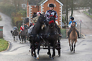 Soldiers from the Kings Troop Royal Horse Artillery dressed up in Christmas jumpers and outfits seen out for a traditional Christmas Eve horse ride on December 24, 2018 through south east London, leaving their barracks in Woolwich and riding across Blackheath to Morden House Park in Greenwich, London, UK.