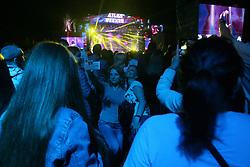 July 3, 2018 - Kyiv, Ukraine - Spectators take a selfie during a concert at the Expocenter of Ukraine National Complex on Day 1 of the Atlas Weekend 2018, one of the biggest music festivals in Eastern Europe, Kyiv, capital of Ukraine, July 3, 2018. Ukrinform. (Credit Image: © Ovsyannikova Yulia/Ukrinform via ZUMA Wire)