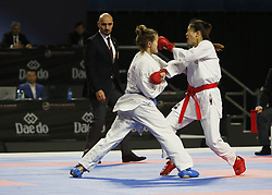 November 10, 2018 - Madrid, Madrid, Spain - Taipei karateka Tzun Yun Wen seen fighting with the Russian karateka Valeriia Alekhina to compete for the Bronze Medal during the Kumite female -55kg competition of the 24th Karate World Championships at the WiZink centre in Madrid. (Credit Image: © Manu Reino/SOPA Images via ZUMA Wire)