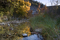 Stock photo of an early evening along a small quiet stream in the Texas Hill Country
