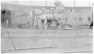 """RGS 2-8-0 #18 at Salida roundhouse.<br /> RGS  Salida, CO  Taken by Root, George - 1904<br /> In book """"Rio Grande Southern II, The: An Ultimate Pictorial Study"""" page 15<br /> See RD155-037 for identical but darker image."""