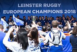 May 13, 2018 - Dublin, Ireland - Members of the Leinster Team and their fans celebrate during the homecoming ceremony at Energia Park, Donnybrook, following their victory in the European Champions Cup Final in Bilbao, Spain..On Sunday, May 13, 2018, in Donnybrook, Dublin, Ireland. (Credit Image: © Artur Widak/NurPhoto via ZUMA Press)