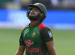 September 21, 2018 - Dubai, United Arab Emirates - Bangladesh cricketer Shakib Al Hasan walks back to the pavilion following his dismissal during the 1st cricket match of the Super four group  of Asia Cup 2018 between India and Bangaldesh at Dubai International cricket stadium,Dubai, United Arab Emirates on 21 September 2018. (Credit Image: © Tharaka Basnayaka/NurPhoto/ZUMA Press)