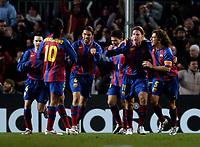 Photo. Jed Wee, Digitalsport<br /> FC Barcelona v Chelsea, UEFA Champions League, 23/02/2005.<br /> Barcelona celebrate with Maxi Lopez (11).
