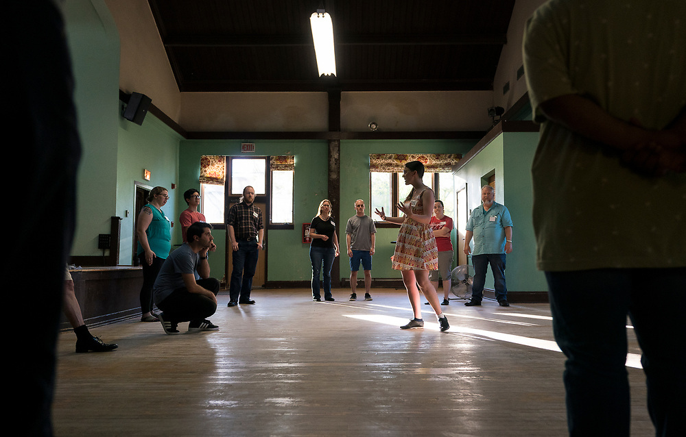 Jumptown Swing instructor Emily Mabie demonstrates Lindy Hop maneuvers during class at the Wil-Mar Neighborhood Center in Madison, Wisconsin, Thursday, May 23, 2019.