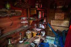 Sipson, UK. 5th June, 2018. An apothecary's shed is pictured at Grow Heathrow. Grow Heathrow is a squatted off-grid eco-community garden founded in 2010 on a previously derelict site close to Heathrow airport to rally support against government plans for a third runway and it has since made a significant educational and spiritual contribution to life in the Heathrow villages, which remain threatened by Heathrow airport expansion.