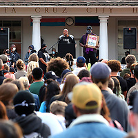 Stan Lee presents a spoken word piece at the Juneteenth rally at Santa Cruz City Hall on Friday. (Shmuel Thaler — Santa Cruz Sentinel)