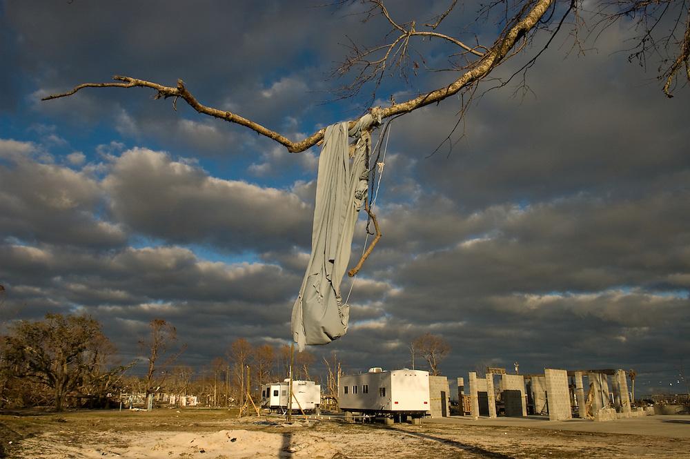Hurricane Katrina, Gulf Coast, United States.  Destruction along the battered coastline.