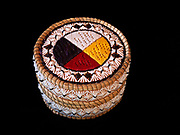 Ojibwa (Chippewa) birchbark and sweetgrass basket with medicine wheel design made with porcupine quills, Great Lakes region.
