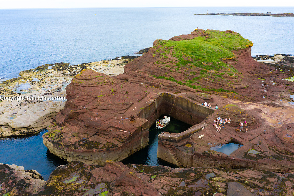 Aerial View of man made harbour at Seacliff beach in East Lothian, Scotland, UK
