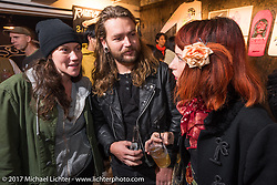 Ms Nat Young of Australia with friends at the Deus Ex Machina Harajuku store party before the 2017 Mooneyes Show. Tokyo, Japan. Friday December 1, 2017. Photography ©2017 Michael Lichter.