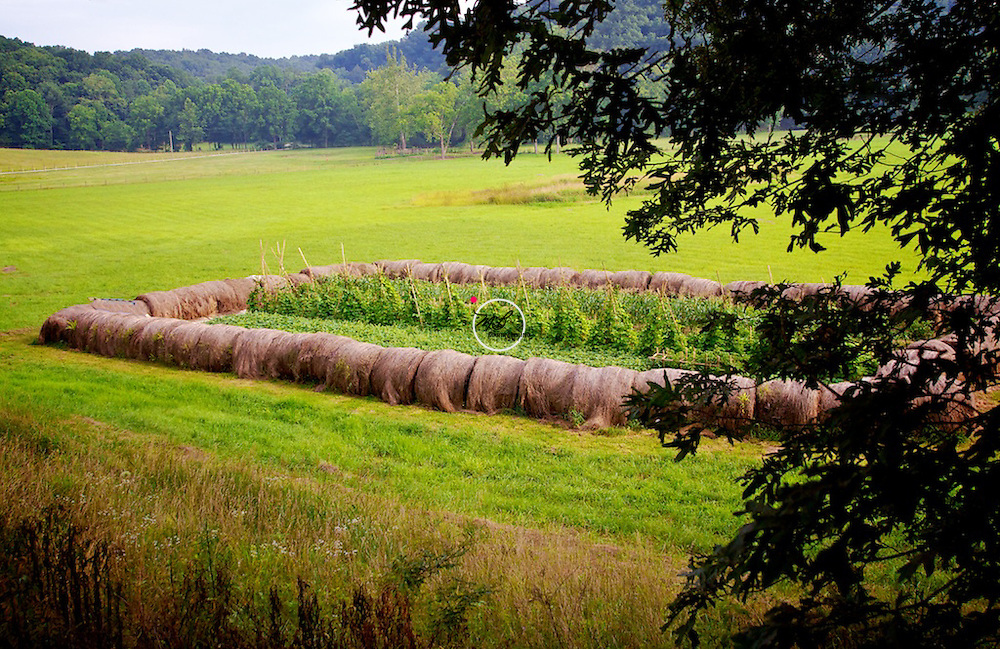 Hay Bales in the valley near Scenic sandstone cliffs and wooded slopes at Green's Bluff preserve, Indiana