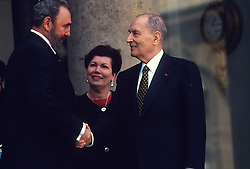 File photo : Francois Mitterrand receives Fidel Castro at Elysee in Paris on March 13, 1995. Fidel Castro, Cuba's former president and leader of the Communist revolution, has died aged 90. Fidel Castro ruled Cuba as a one-party state for almost 50 years before Raul took over in 2008. Photo by Mousse/ABACAPRESS.COM