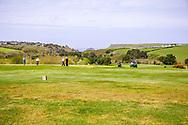 03-05-2018 The Point at Polzeath Golf Club, Wadebridge  Cornwall, Engeland<br /> <br /> The Point - Green hole 9 met op de achtergrond The Point van Polzeath