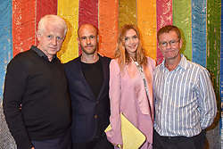 Left to right, Richard Curtis, Cameron Saul, Arizona Muse and Mark Wright at a cocktail supper hosted by BOTTLETOP co-founders Cameron Saul & Oliver Wayman, along with Arizona Muse, Richard Curtis & Livia Firth to launch the #TOGETHERBAND campaign at The Quadrant Arcade on April 24, 2019 in London, England.<br /> <br /> ***For fees please contact us prior to publication***