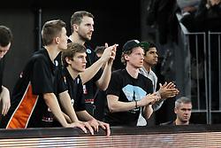 03.12.2013, Ratiopharm Arena, Neu Ulm, DEU, Basketball Eurocup, Ratiopharm Ulm vs Paris Levallois, im Bild Ferner ( ratiopharm ulm ) Till-Joscha Joenke ( ratiopharm ulm ) Trent Plaisted ( ratiopharm ulm ) Per Guenther ( ratiopharm ulm ) Edgar Sosa ( ratiopharm ulm ) feuern Ihr Team an // during basketball eurocup match between Ratiopharm Ulm and Paris Levallois at Ratiopharm Arena in Neu Ulm, Germany on 2013/12/03. EXPA Pictures © 2013, PhotoCredit: EXPA/ Eibner-Pressefoto/ Langer<br /> <br /> *****ATTENTION - OUT of GER*****