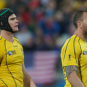 Berrick Barnes, (left) and Quade Cooper, Australia, in action during the Australia V USA, Pool C match during the IRB Rugby World Cup tournament. Wellington Stadium, Wellington, New Zealand, 23rd September 2011. Photo Tim Clayton.....