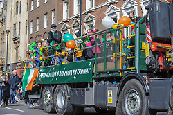 Community organisations and professional pageantry joined together to march through London as part of the annual St. Patrick's Day parade. London, 17th March 2019.