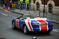 © London News Pictures. 02/05/2015. A union jack coloured car outside the hospital before the Catherine Duchess of Cambridge and Prince William leave the Lindo Wing of St Mary's hospital in London holding their new born baby daughter, Princess of Cambridge. Photo credit: Ben Cawthra /LNP