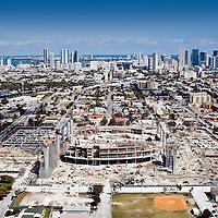 Aerial view of the new Miami Marlins baseball stadium on the site of the iconic Orange Bowl Stadium.