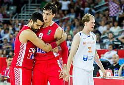 Krunoslav Simon of Croatia and Dario Saric of Croatia celebrate during basketball match between Netherlands and Croatia at Day 5 in Group C of FIBA Europe Eurobasket 2015, on September 9, 2015, in Arena Zagreb, Croatia. Photo by Vid Ponikvar / Sportida