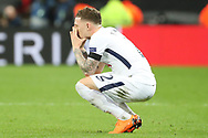 Kieran Trippier of Tottenham Hotspur (2) with fingers in eyes after loss during the Champions League match between Tottenham Hotspur and Juventus FC at Wembley Stadium, London, England on 7 March 2018. Picture by Matthew Redman.