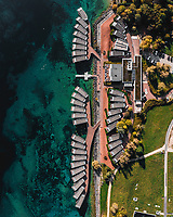 Aerial view of the Palafitte hotel, half above the lake, half above the land. Photo taken on Topdown, in Neuchatel Switzerland