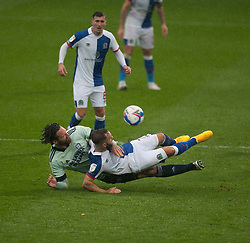 Adam Armstrong of Blackburn Rovers (C) is brought down by Sean Morrison of Cardiff City - Mandatory by-line: Jack Phillips/JMP - 03/10/2020 - FOOTBALL - Ewood Park - Blackburn, England - Blackburn Rovers v Cardiff City - English Football League Championship