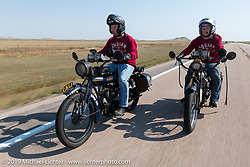 Justin Rinker (left) riding alongside his twin brother Jared on their 1916 Indian Powerplus' in the Motorcycle Cannonball coast to coast vintage run. Stage 9 (294 miles) from Pierre to Sturgis, SD. Sunday September 16, 2018. Photography ©2018 Michael Lichter.