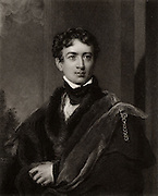 John George Lambton, lst Earl of Durham (1792-1840) English statesman and colonial administrator..  Elected to Parliament (1813-1832) as Whig (Liberal) MP for Durham and earned himself the nickname of Radical Jack.    Appointed Governor-general of Canada (1837-1838) and produced his 'Report on the Affairs of British North America' (1839) in which he recommended responsible government for the colony. Engraving after portrait by Thomas Lawrence.