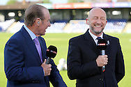 Former Wimbledon boss Dave Bassett sharing a joke with Ian Holloway  ® during pre match analysis with Sky Sports. Skybet football league two play off semi final, 1st leg match, AFC Wimbledon v Accrington Stanley at the Cherry Red Records Stadium in Kingston upon Thames, Surrey on Saturday 14th May 2016.<br /> pic by John Patrick Fletcher, Andrew Orchard sports photography.