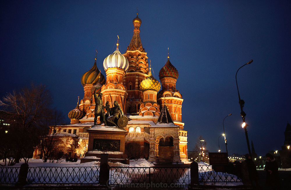 Wintertime night view of St. Basil's Church with snow in Red Square, Moscow, USSR.