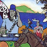 A bright murals in  Ruatoria, East Cape Road, New Zealand. 19th January 2010. Photo Tim Clayton