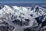 "Cho Oyu (8201 metres), the ""Turquoise goddess"" and Gyachung Kang (7900 metres), aerial view, Tibet-Nepal border"