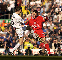 Photo. Jed Wee<br />Liverpool v Leeds United, FA Barclaycard Premiership, Anfield, Liverpool. 23/03/2003.<br />Liverpool's Dietmar Hamann (R) clashes with Leeds' Jason Wilcox.