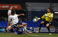 Photo: Ashley Pickering/Sportsbeat Images.<br /> Ipswich Town v Barnsley. Coca Cola Championship. 01/12/2007.<br /> Tommy Miller of Ipswich (blue) has a weak shot saved by Barnsley keeper Heinz Muller (R)
