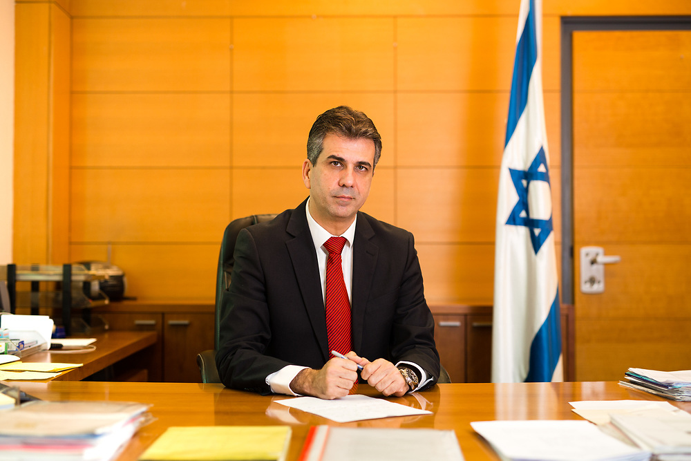 Israeli Minister of Economy and Industry Eli Cohen poses for a portrait at his office in Jerusalem, on January 30, 2017.