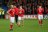 Jonathan Williams (l) and Ben Woodburn © are dejected at final whistle after losing the match and their world cup dream is over. Wales v Rep of Ireland , FIFA World Cup qualifier , European group D match at the Cardiff city Stadium in Cardiff , South Wales on Monday 9th October 2017. pic by Andrew Orchard, Andrew Orchard sports photography