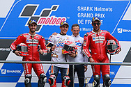 #4 Andrea Dovizioso, Italian: Mission Winnow Ducati Team,#93 Marc Marquez, Spanish: Repsol Honda Team and #9 Danilo Petrucci, Italian: Mission Winnow Ducati Team during racing on the Bugatti Circuit at Le Mans, Le Mans, France on 19 May 2019.