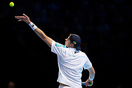 John Isner of the USA serves during the Nitto ATP World Tour Finals at the O2 Arena, London, United Kingdom on 16 November 2018. Photo by Martin Cole