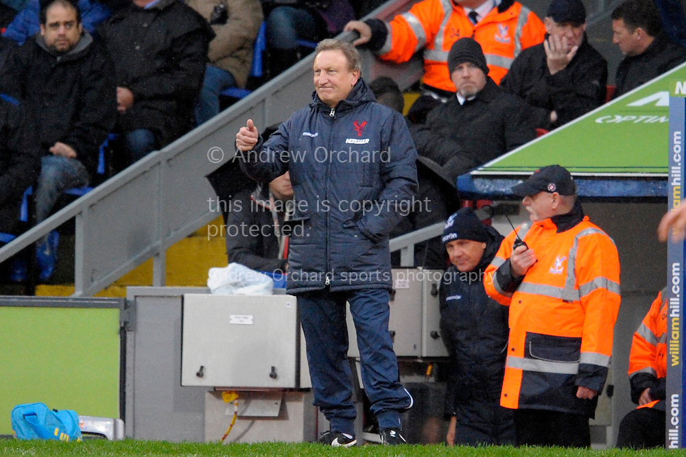 Crystal Palace Manager Neil Warnock giving thumbs up to Yannick Bolasie of Crystal Palace during the first half. Barclays Premier league match, Crystal Palace v Liverpool at Selhurst Park in London on Sunday 23rd November 2014.<br /> pic by John Patrick Fletcher, Andrew Orchard sports photography.