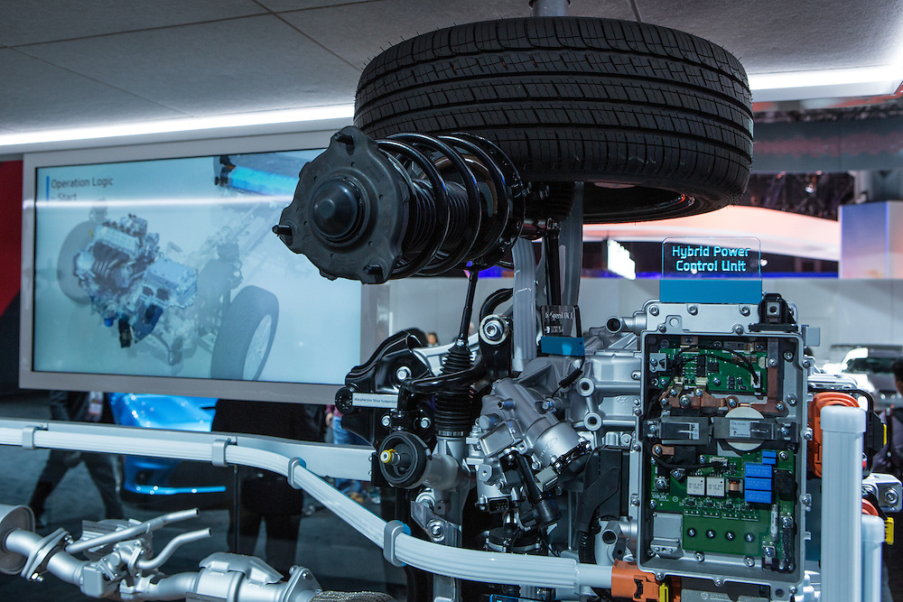 New York, NY, USA-23 March 2016. Details of the powertrain  for Hyundai's new Ioniq  car, available in hybrid, plug-in hybrid, and all-electric.