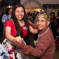 Patricia Chavira, left, a volunteer at Night to Shine and a member of the Rehoboth girls basketball team dances with Gene Silversmith a guest at Night to Shine, Friday, Feb. 7 at the New Life Christian Assembly in Pinedale.