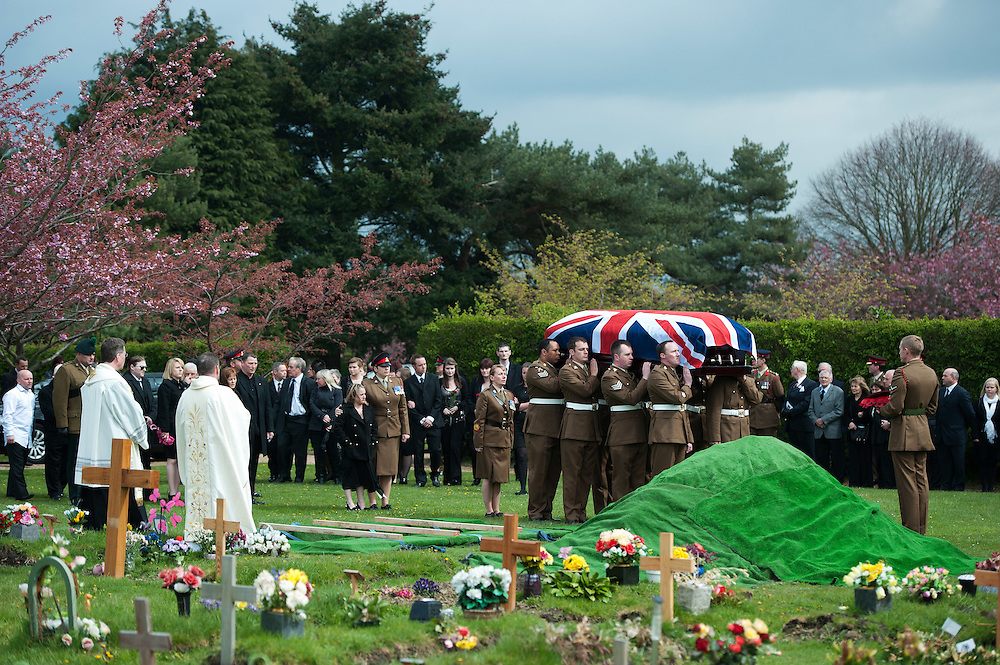 The funeral of Lance Corporal Michael Foley in Didcot Cemetery in Oxfordshire on April 19th 2012..The Funeral of Lance Corporal Michael Foley. Lance Corporal Michael Foley, of the Adjutant General's Corps (Staff and Personnel Support) was one of two servicemen shot dead by an Afghan soldier on March 26.2012.Photo Ki Price.