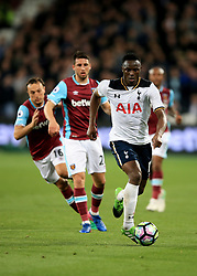 5 May 2017 - Premier League - West Ham v Tottenham Hotspur - Victor Wanyama of Tottenham Hotspur  in action with Jonathan Calleri and Mark Noble of West Ham - Photo: Marc Atkins / Offside.