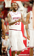 Nov 16, 2011; Fayetteville, AR, USA;  Arkansas Razorback forward Marshawn Powell (33) gives a thumbs-up to teammates during a timeout during the second half of a game against the Oakland Grizzlies at Bud Walton Arena. Arkansas defeated Oakland 91-68 and Powell led the team with 20 points. Mandatory Credit: Beth Hall-US PRESSWIRE