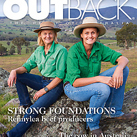Cover shot for RM Williams' Outback magazine featuring mother and daughter Lucinda and Ruth Corrigan of Renny Angus for a feature story on their thriving Angus seed stock operation near Holbrook, NSW.