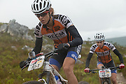 Ariane Kleinhans leads Team RECM2 team-mate Annika Langvad during the final stage (stage 7) of the 2014 Absa Cape Epic Mountain Bike stage race from Oak Valley Wine Estate in Elgin to Lourensford Wine Estate in Somerset West, South Africa on the 30 March 2014<br /> <br /> Photo by Greg Beadle/Cape Epic/SPORTZPICS
